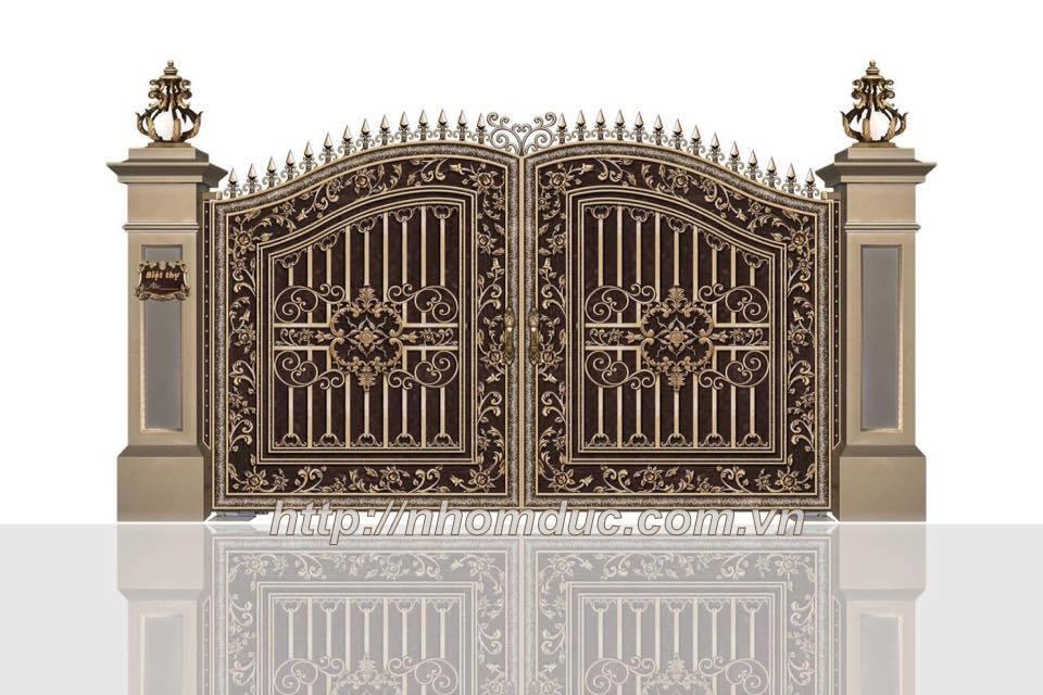 là mẫu cổng nhôm đúc nguyên khối, thích hợp để làm cổng nhà phố