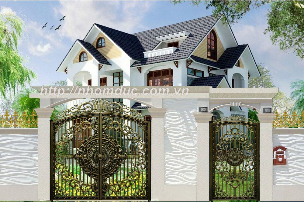 Cổng Nhôm Đúc, Cửa cổng hợp kim nhôm đúc với hoa văn được thiết kế tinh tế độc đáo, sơn màu hài hòa tôn lên vẻ đẹp lộng lẫy cho ngôi nhà bạn